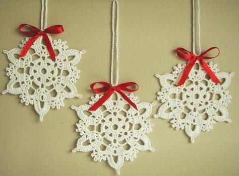 Photo of Decoraciones de ganchillo para árboles de Navidad Copos de nieve Decoraciones navideñas Aplicaciones decorativas para bodas (juego de 6)