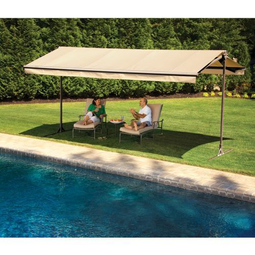 The Sunsetter Oasis Freestanding Awning Motorized And Manually Operated Versions Patio Portable Awnings Pergola Plans