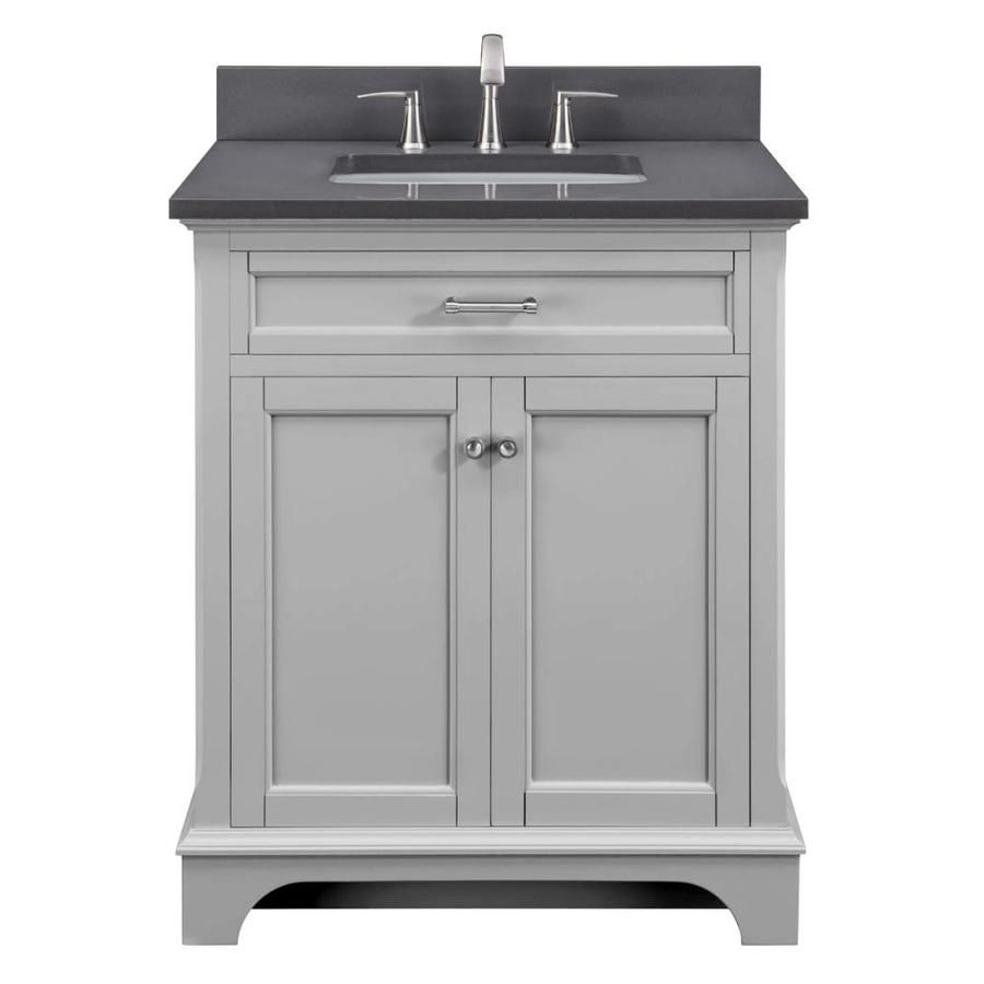Scott Living Roveland 30 In Light Gray Single Sink Bathroom Vanity With Dark Gray Engineered Stone Top Lowes Com Grey Bathroom Vanity Single Sink Bathroom Vanity Bathroom Sink Vanity