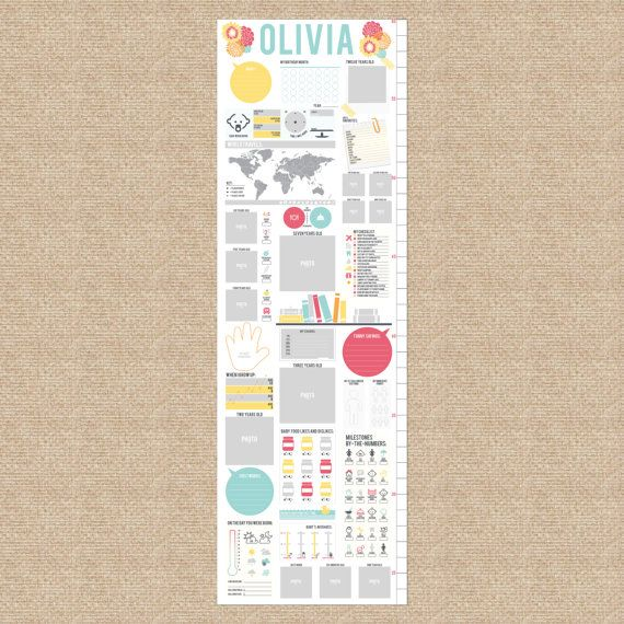 Interactive Growth Chart Sunshine Flowers Sbook Custom Match Colors To A Nursery 13x40 Canvas N C05