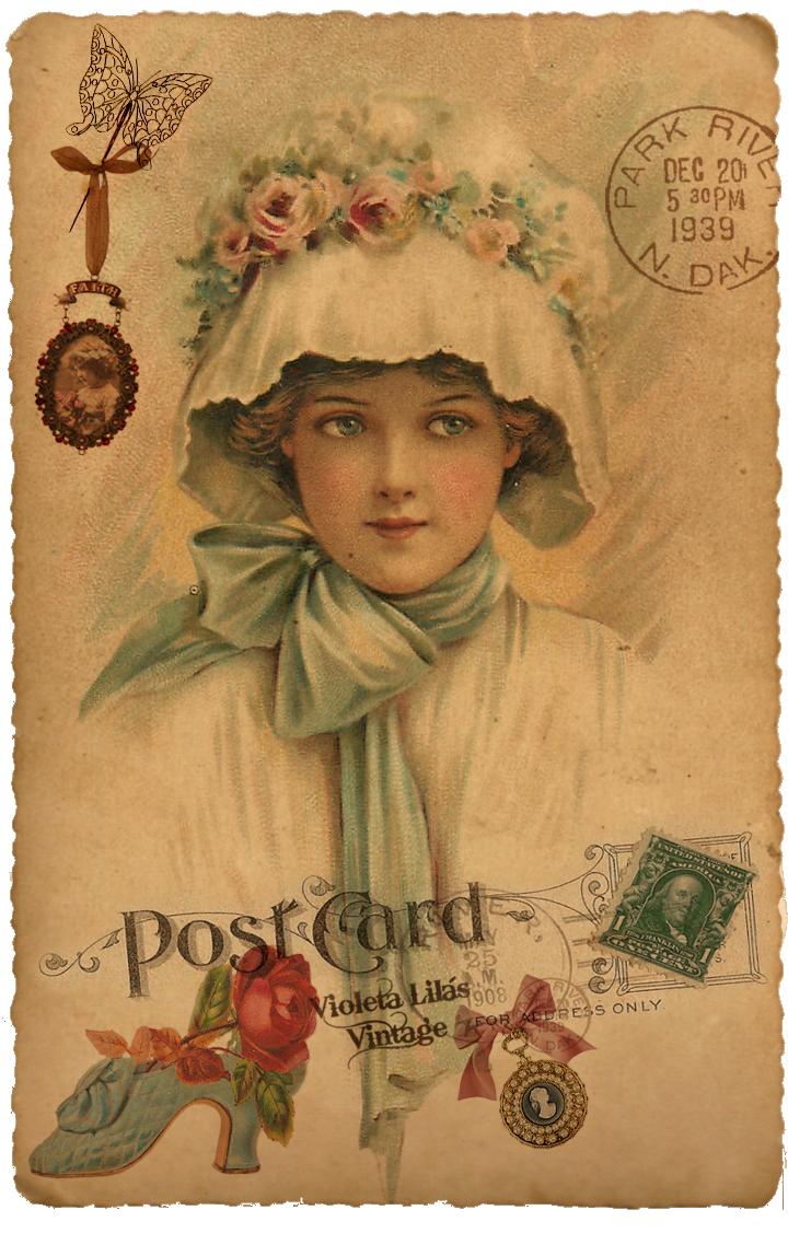 Violeta Lilás Vintage иллюстрации Vintage Bilder Postkarten и