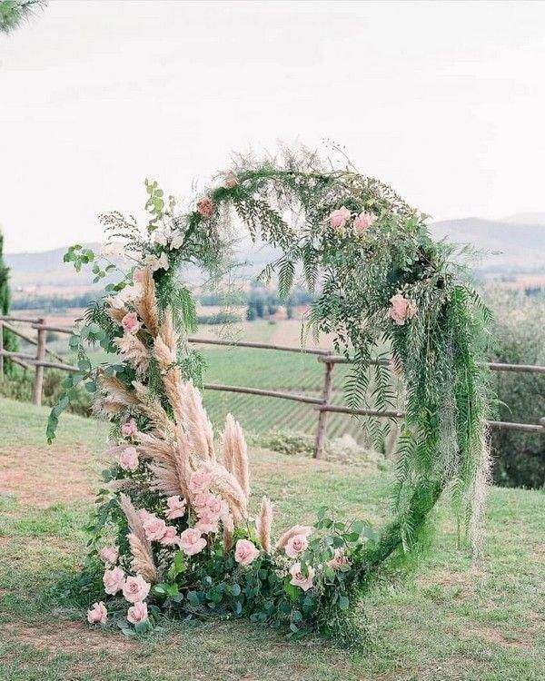 Wedding Arbor Circle: Greenery And Blush Floral Wedding Arbor #weddings #wedding