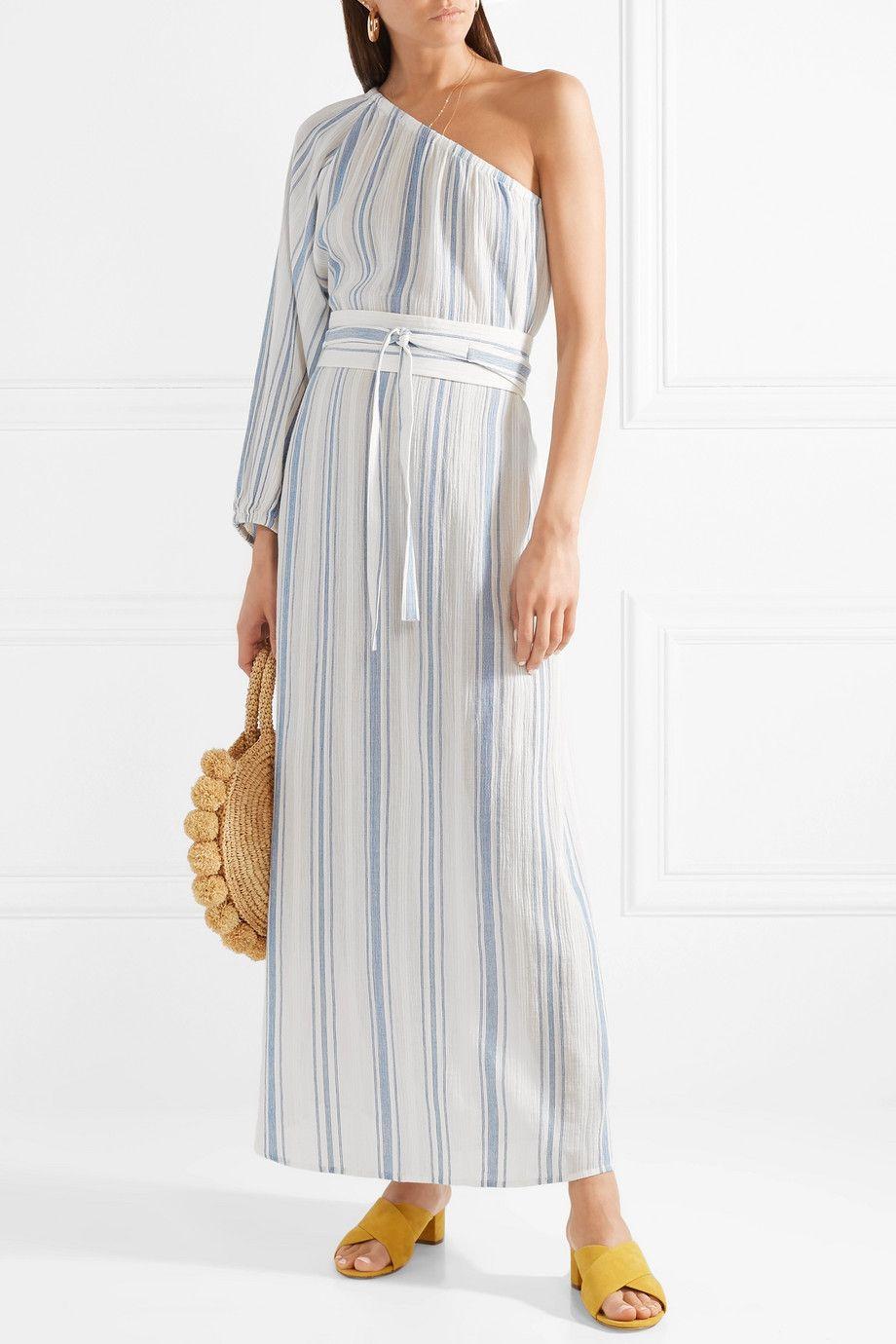 Ivana One-shoulder Striped Cotton-gauze Midi Dress - Blue Vanessa Bruno Buy Cheap Best Wholesale Best Choice Purchase Cheap Sale 2018 J4lNr6