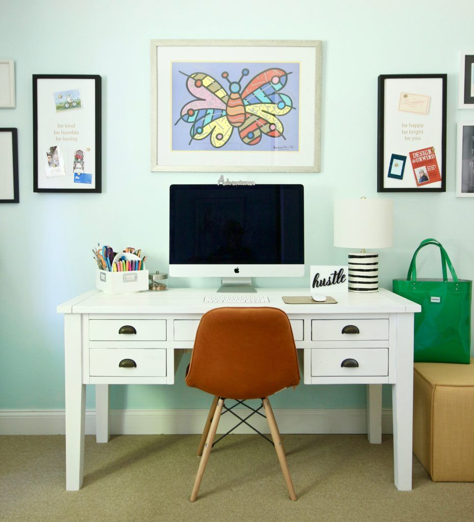 A boring home office gets a practical bright colorful