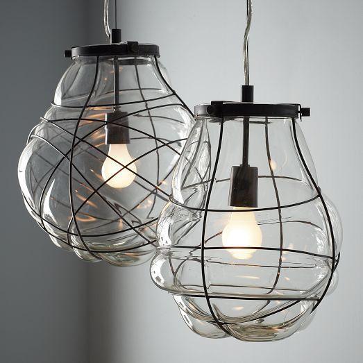 organic blown glass pendant light from