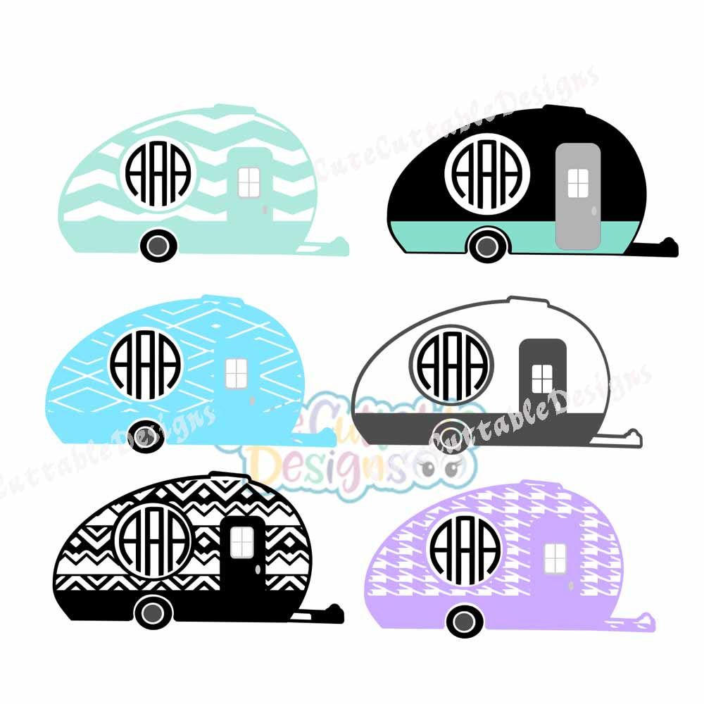 Camper MonogramCamping Svg RV Summer Happy Eps DXFPng Silhouette Studio Cricut Vector Cut Files By Cutecuttabledesigns