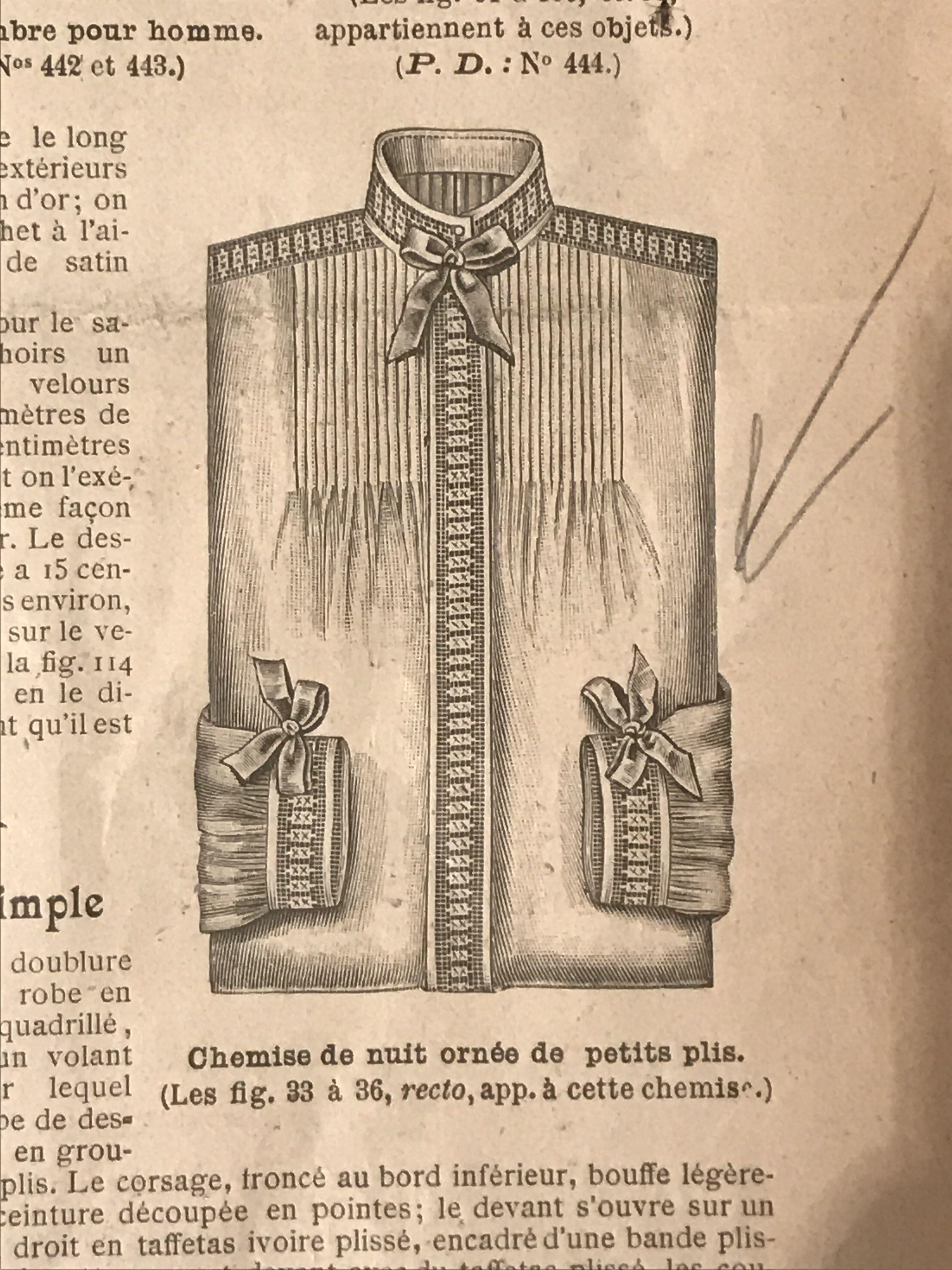 Chemise de nuit ornée de petit plis    Mode Illustrée n 32 1902 ... 896d5b1e35f