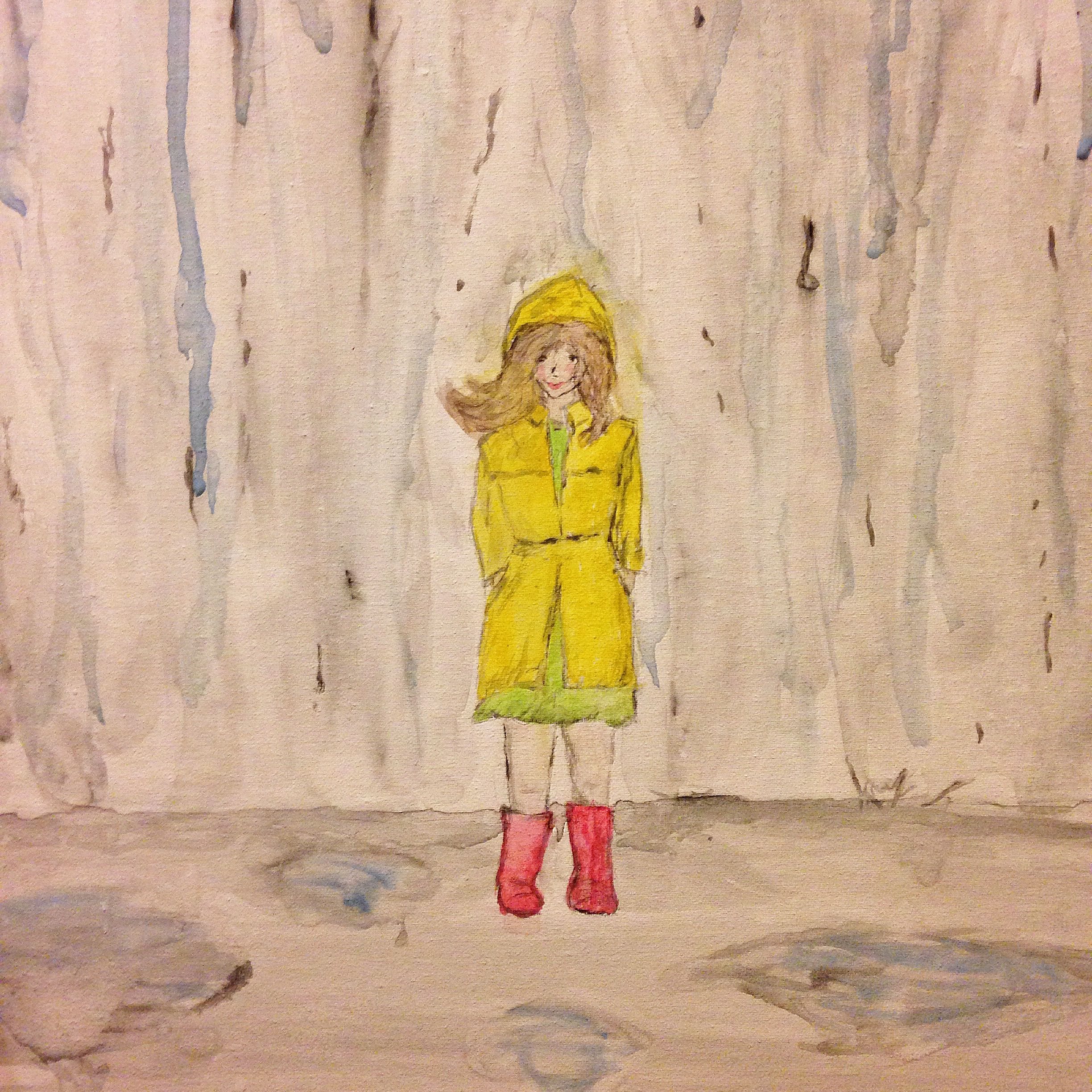 Girl in a raincoat, watercolor | Art for my heart | Pinterest ...