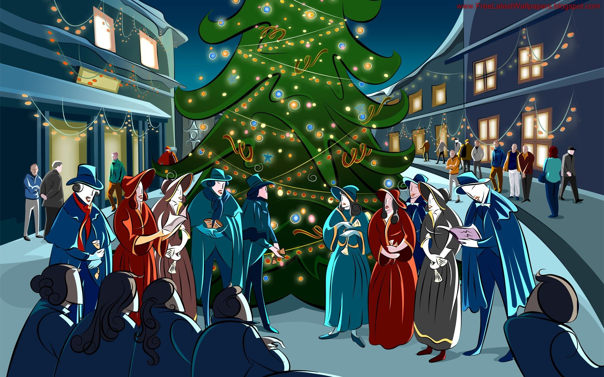 Christmas Wallpaper Carolers Christmas Landscape Christmas Tree Pictures Christmas Paintings
