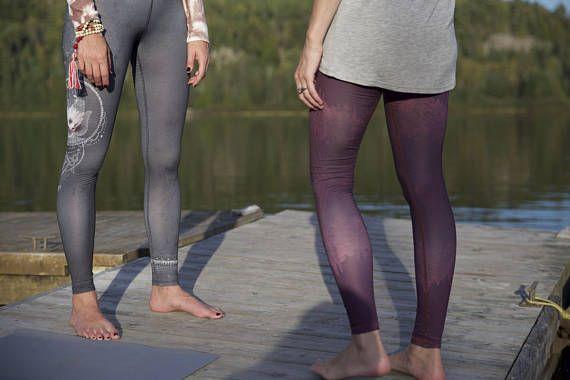 3d3bf8b640 Eco-friendly leggings Gray yoga pants Lotus flower print   Legging ...