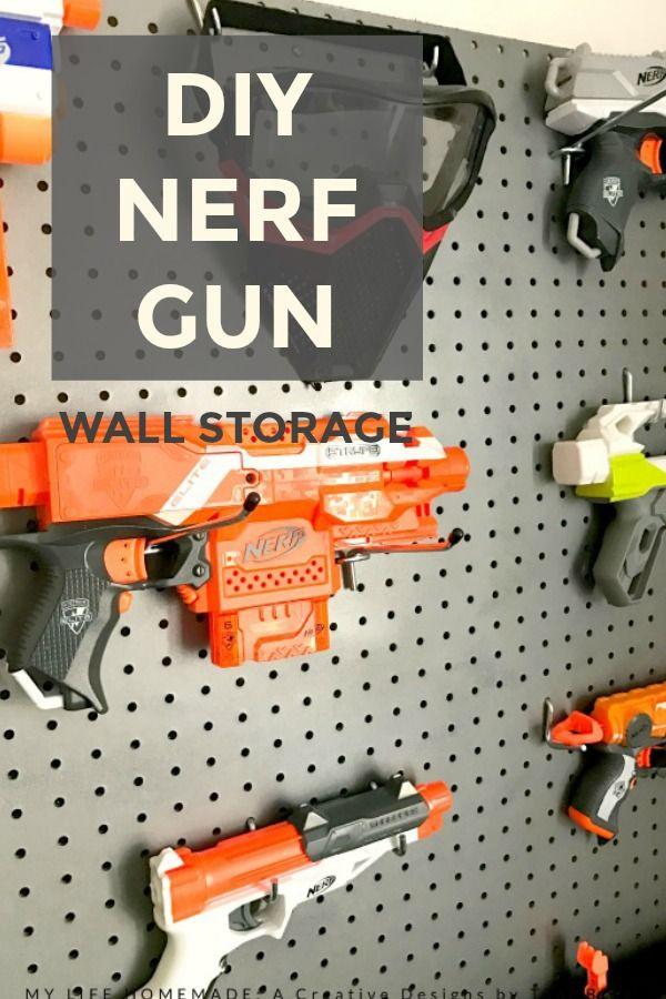 DIY Nerf Gun Wall Storage by my life homemade ~ Creative Designs by Toni |  Boys Room and playroom | Pinterest | Wall storage, Creative design and Guns