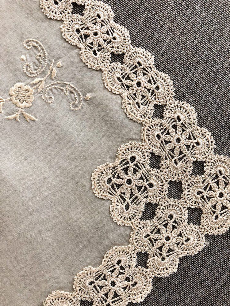 Chic Beige Flower Hand Crochet Cotton Doily E