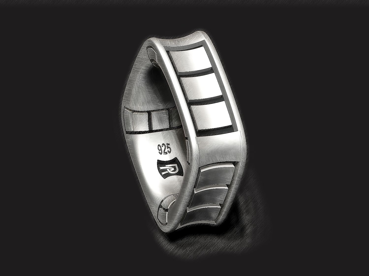 Squares square band in Sterling Silver Square band