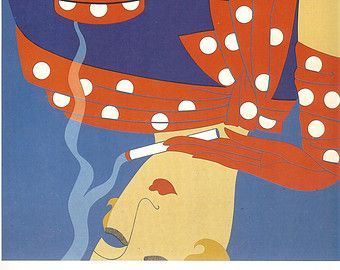 1982 Art Deco Erte  Double Sided Print  Cup Of Coffee Red Polka Dot Cup And Saucer Scarf Glove Reflection In Table Woman Smoking Cigarette