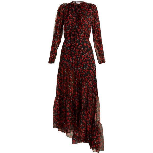 Raquel Diniz Anita floral-print silk-chiffon midi dress (€1.230) ❤ liked on Polyvore featuring dresses, black red, long-sleeve floral dresses, long sleeve dress, long-sleeve midi dresses, floral dresses and floral ruffle dress