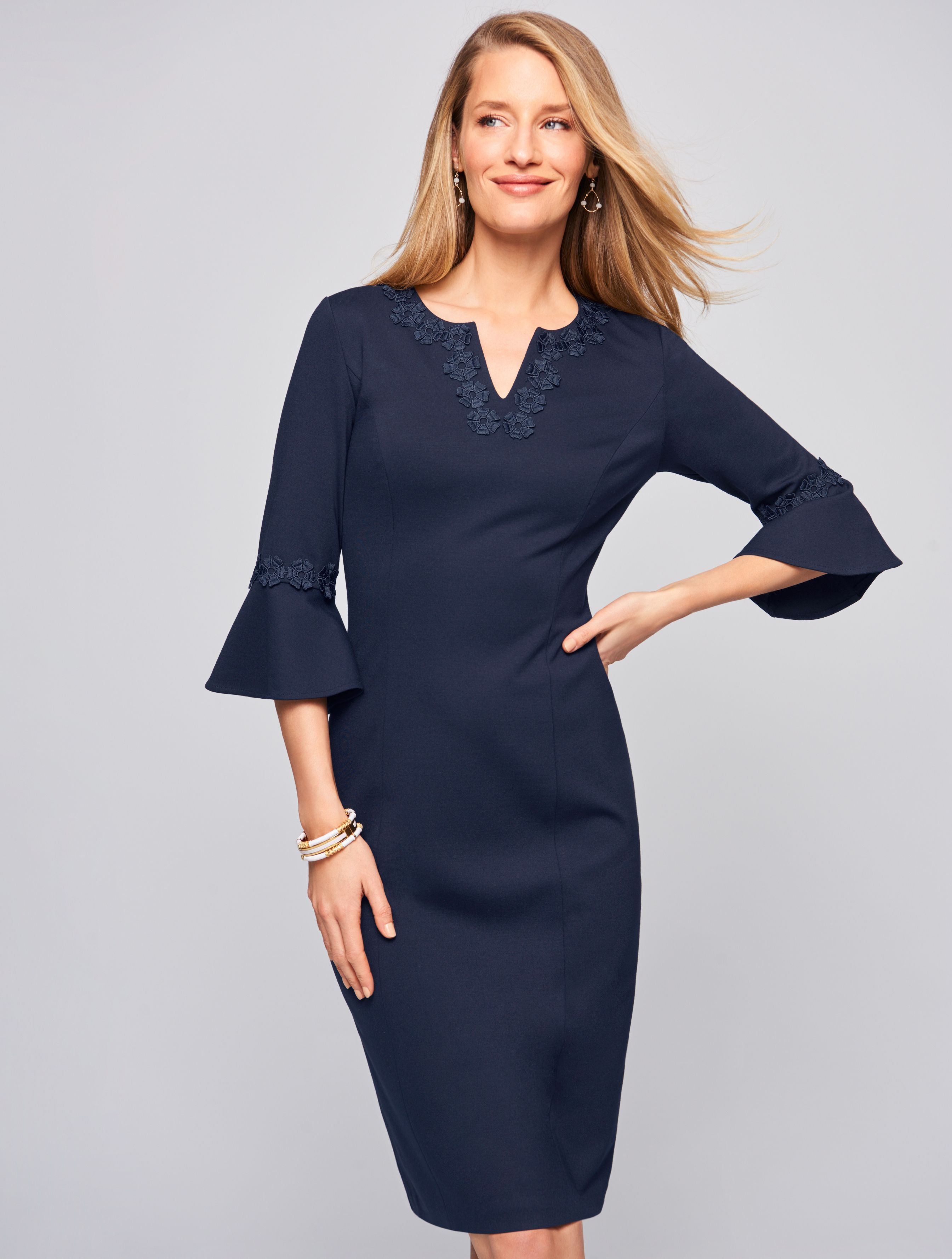 Tonal Embroidery And Feminine Sleeves Elevate The Look Of A Sophisicated Sheath Dress Wear It To The Office Then Clothes Fashionable Work Outfit Work Outfit [ 3557 x 2689 Pixel ]