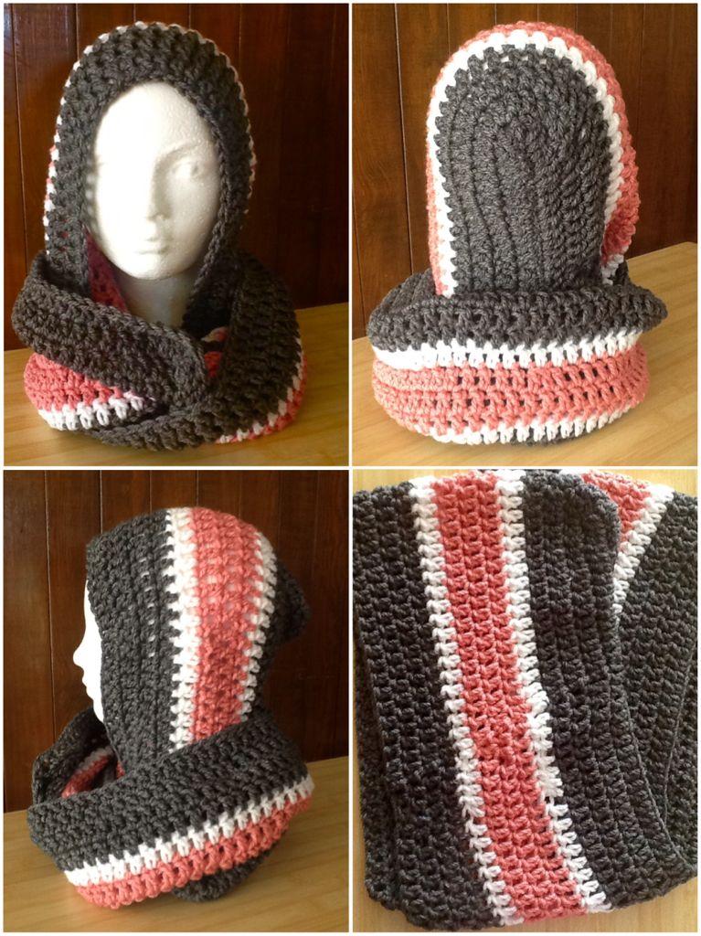 Crochet scoodie Gris-rosa-blanco | CrochetADD | Pinterest
