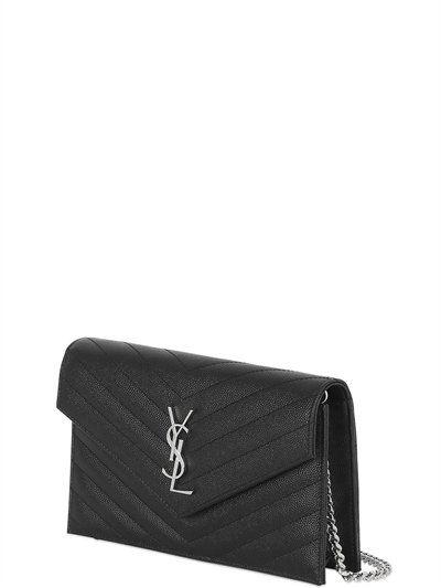 Saint Laurent Sac En Cuir Graine Molletonne Monogram Noir Schultertasche Ysl Tasche Saint Laurent Tasche