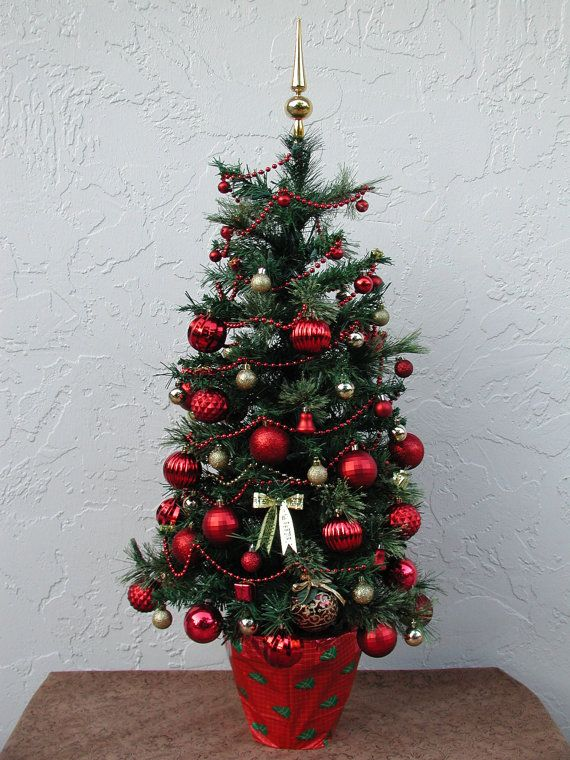 tabletop christmas tree fully decorated red and gold 50 clear lights 3 - Fully Decorated Tabletop Christmas Tree