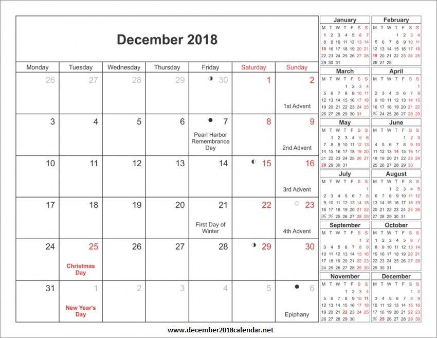 Dec 2018 Calendar Printable Holiday Calendar Holiday Calendar