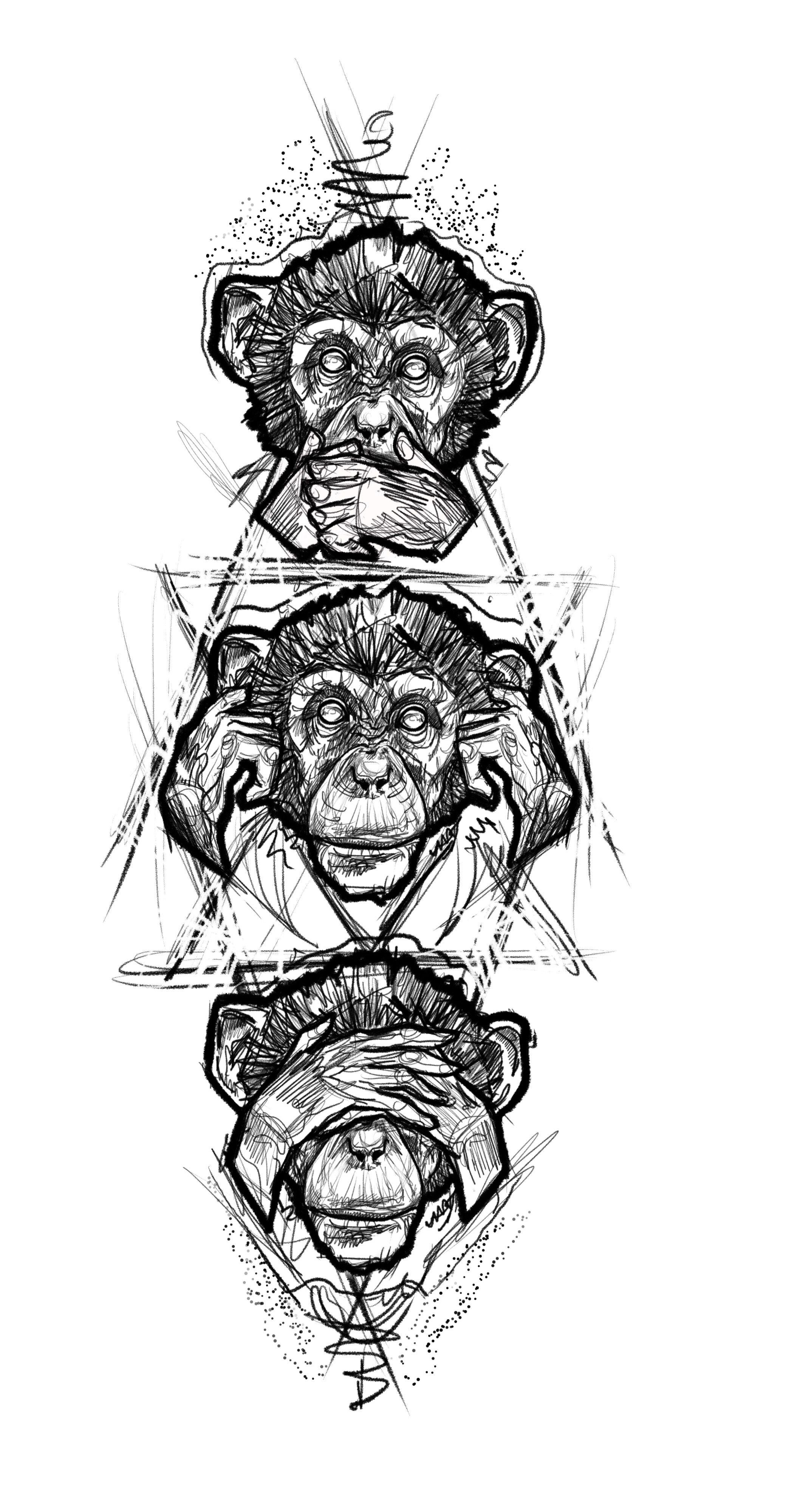 3 Monos Sabios Tatuajes three monkey tattoo design sketch   tatuajes de moños