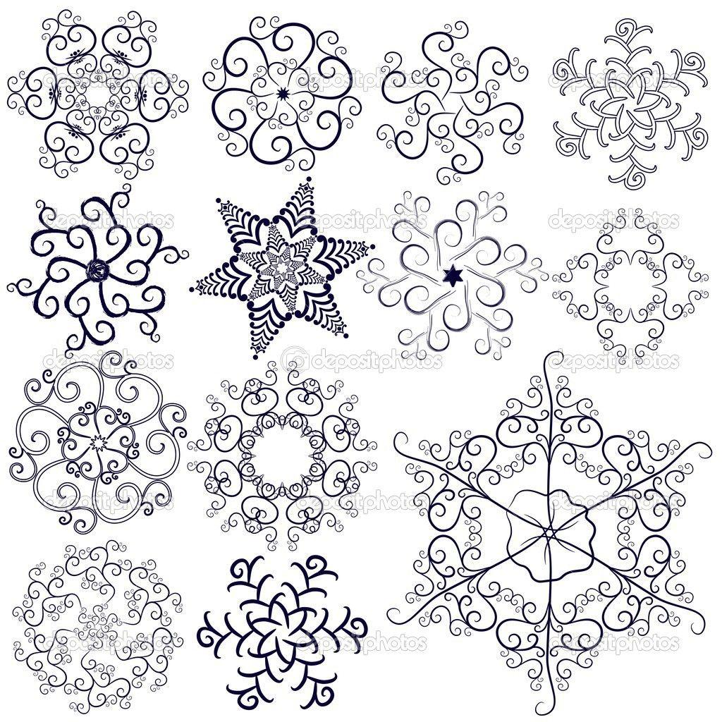 Line Art Sneeuwvlokken Henna Inkt