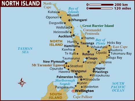 Map of North Island New Zealand