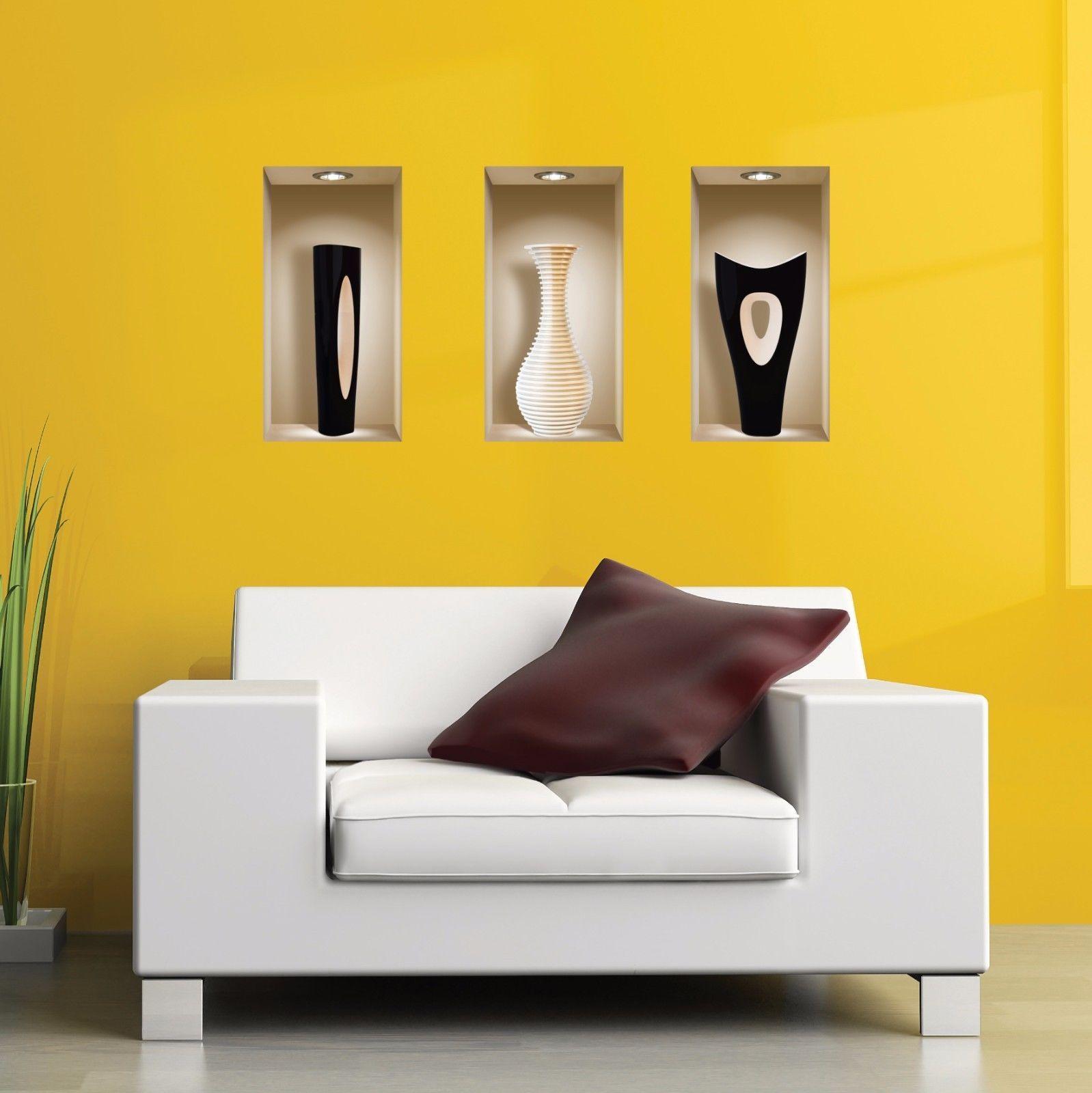 Set art black white wall stickers d picture vinyl removable tile