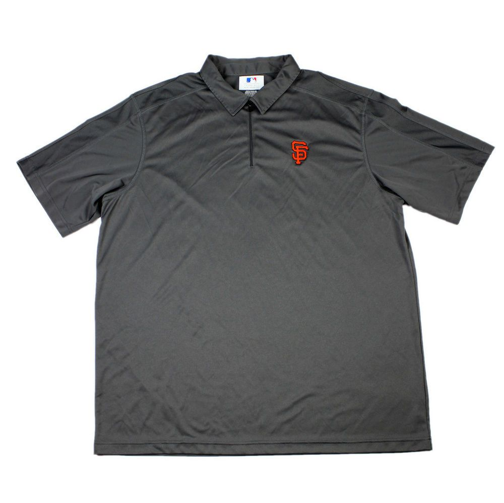 Sanfranciscogiants Sf Gray Polyester Polo Shirt Mens Sportswear