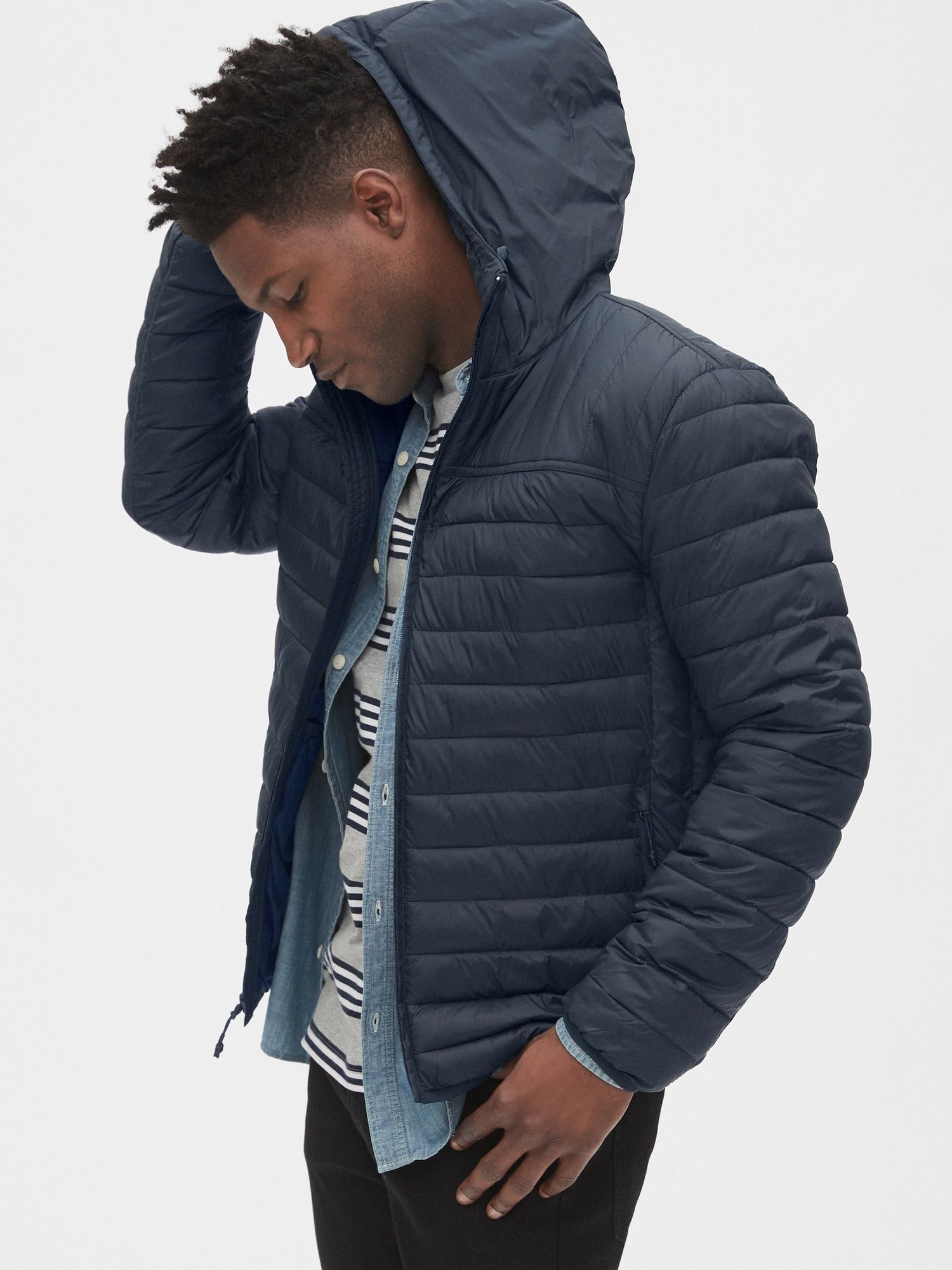 Gap Coldcontrol Lightweight Hooded Puffer Jacket New Classic Navy Blue In 2021 Mens Outfits Clothes Jackets [ 2000 x 1500 Pixel ]