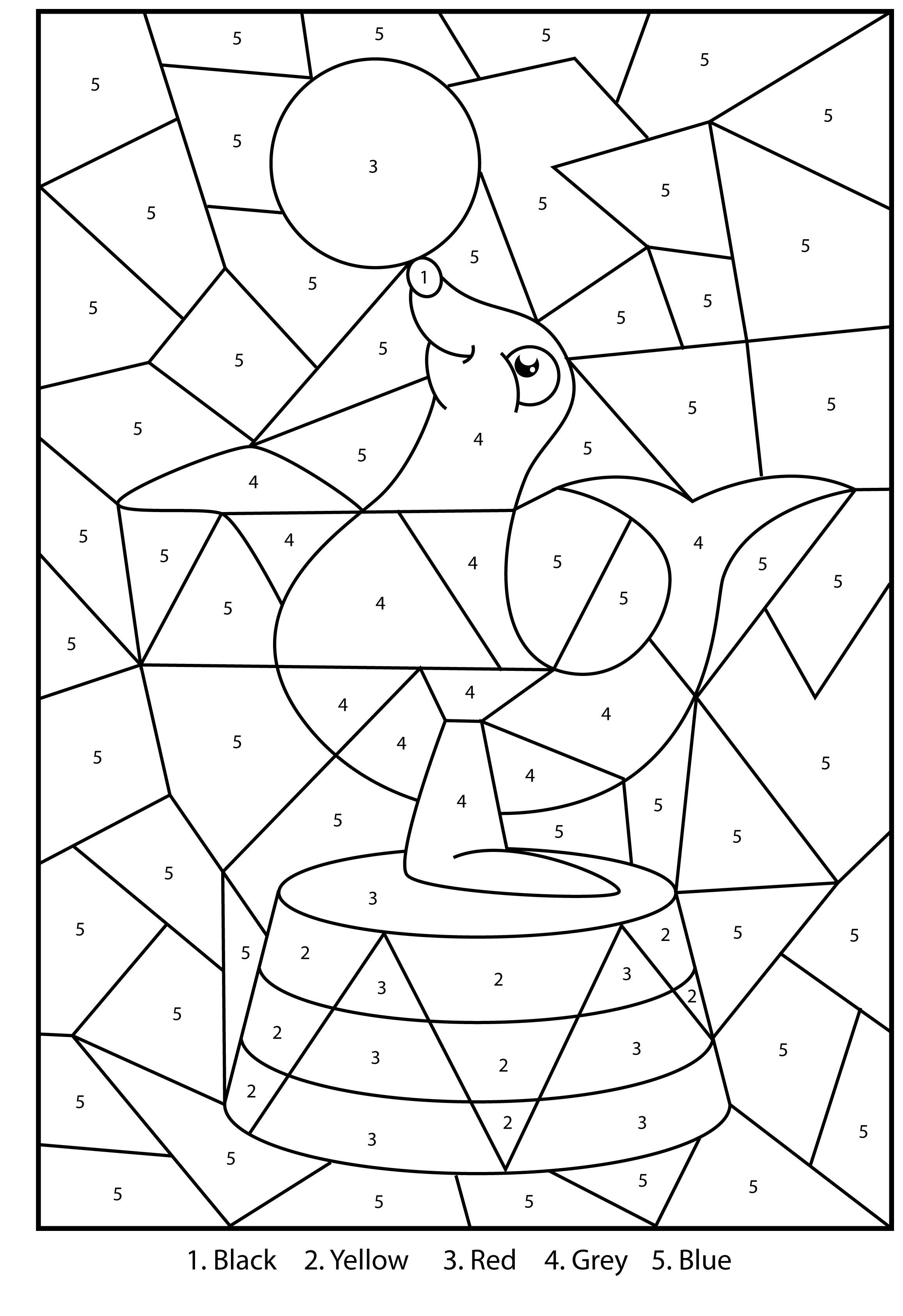 free printable silly seal colour by numbers activity for kids - Free Printable Pictures To Colour