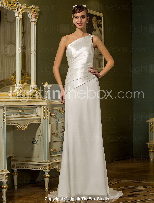 Wedding dresses with beading  Sheath  Column One Shoulder Sweep  Brush Train Chiffon Stretch