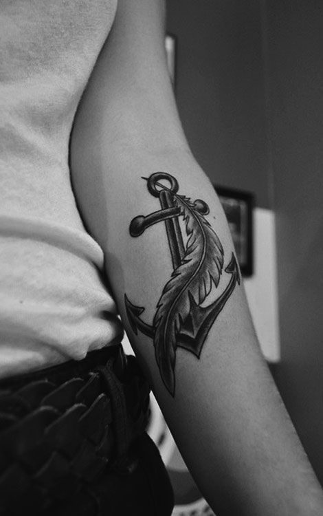anchor tattoo- black anchor with a colored feather?