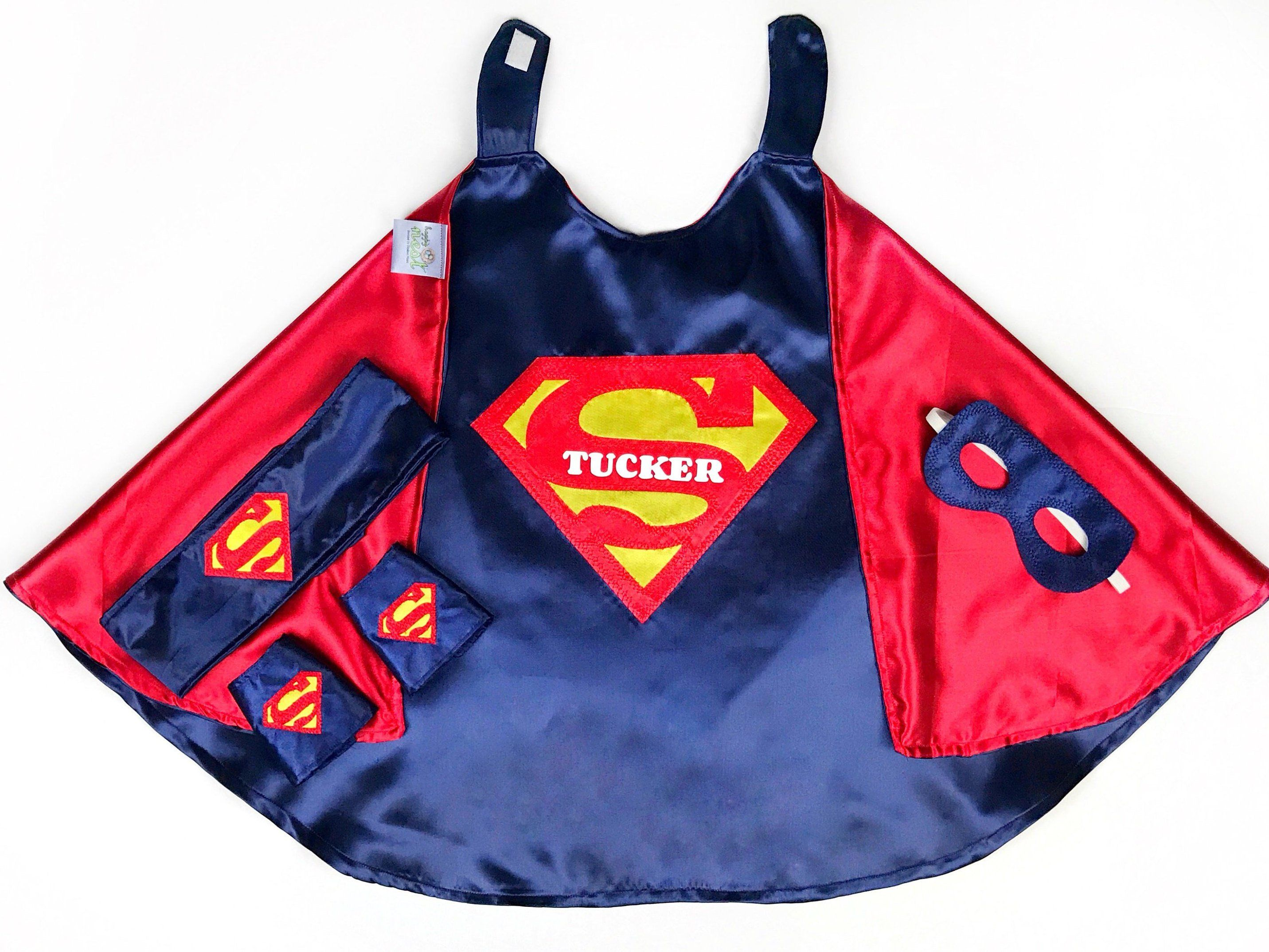 Personalized Superman Cape Set Boy Capes Birthday Costumes Kids Gift Dress Up Superhero