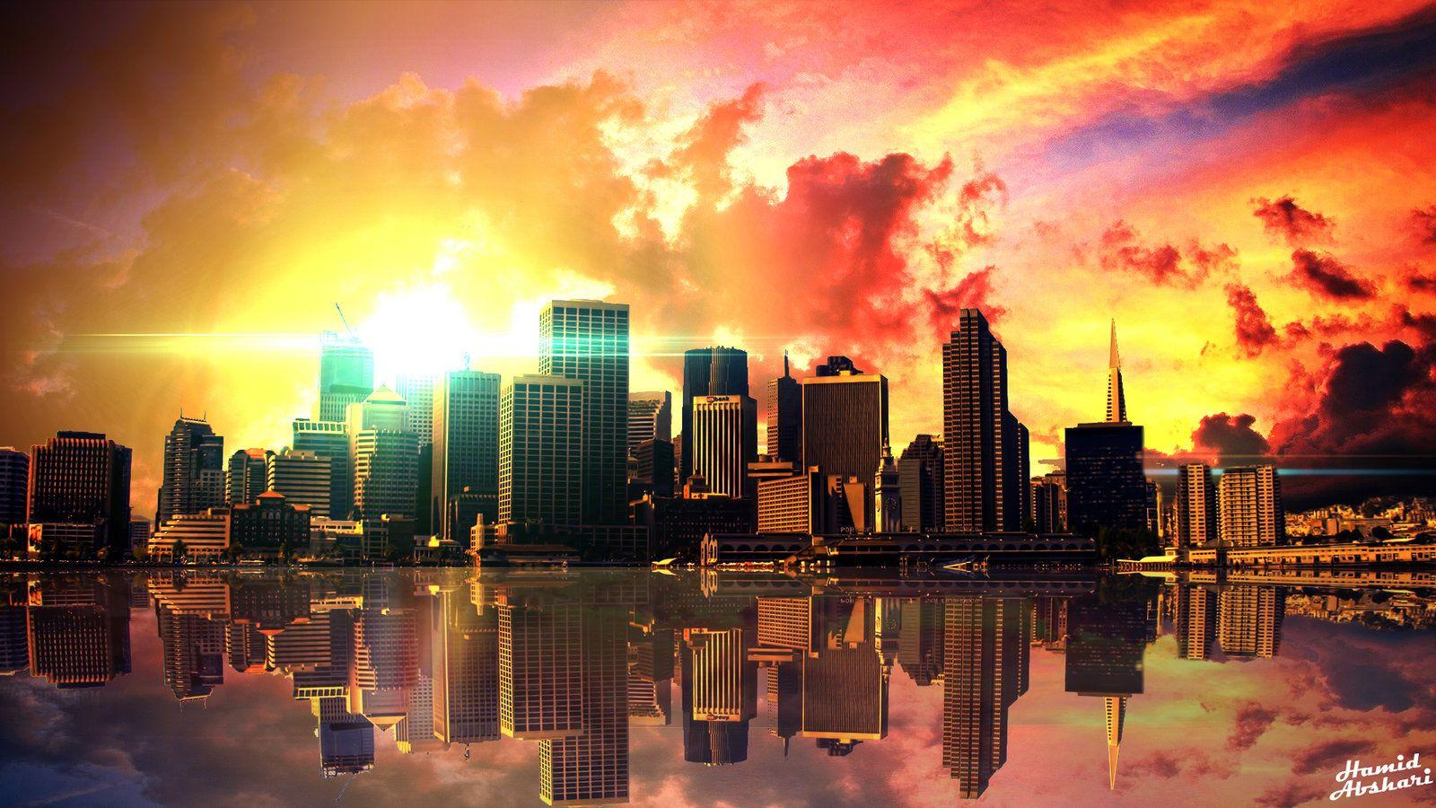 Sunset City Wallpaper HD Author Bylabz Sunset city