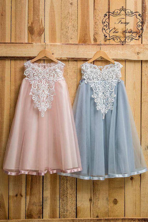d4b414afc55 Dusty pink dress girl rustic powder dress girl country flower girls rustic  pink dresses lace baby tu