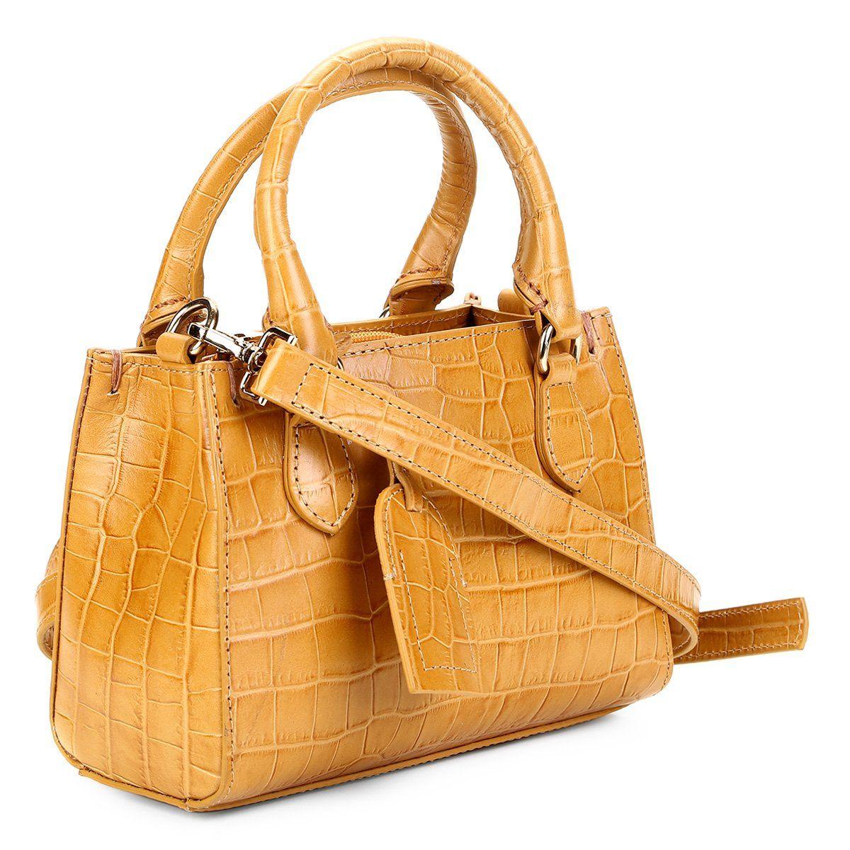 dff866448f Bolsa Couro Shoestock Transversal Croco Feminina - Amarelo - Compre Agora