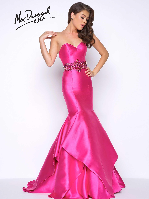 Satin, strapless, magenta prom dress with sweetheart neckline ...