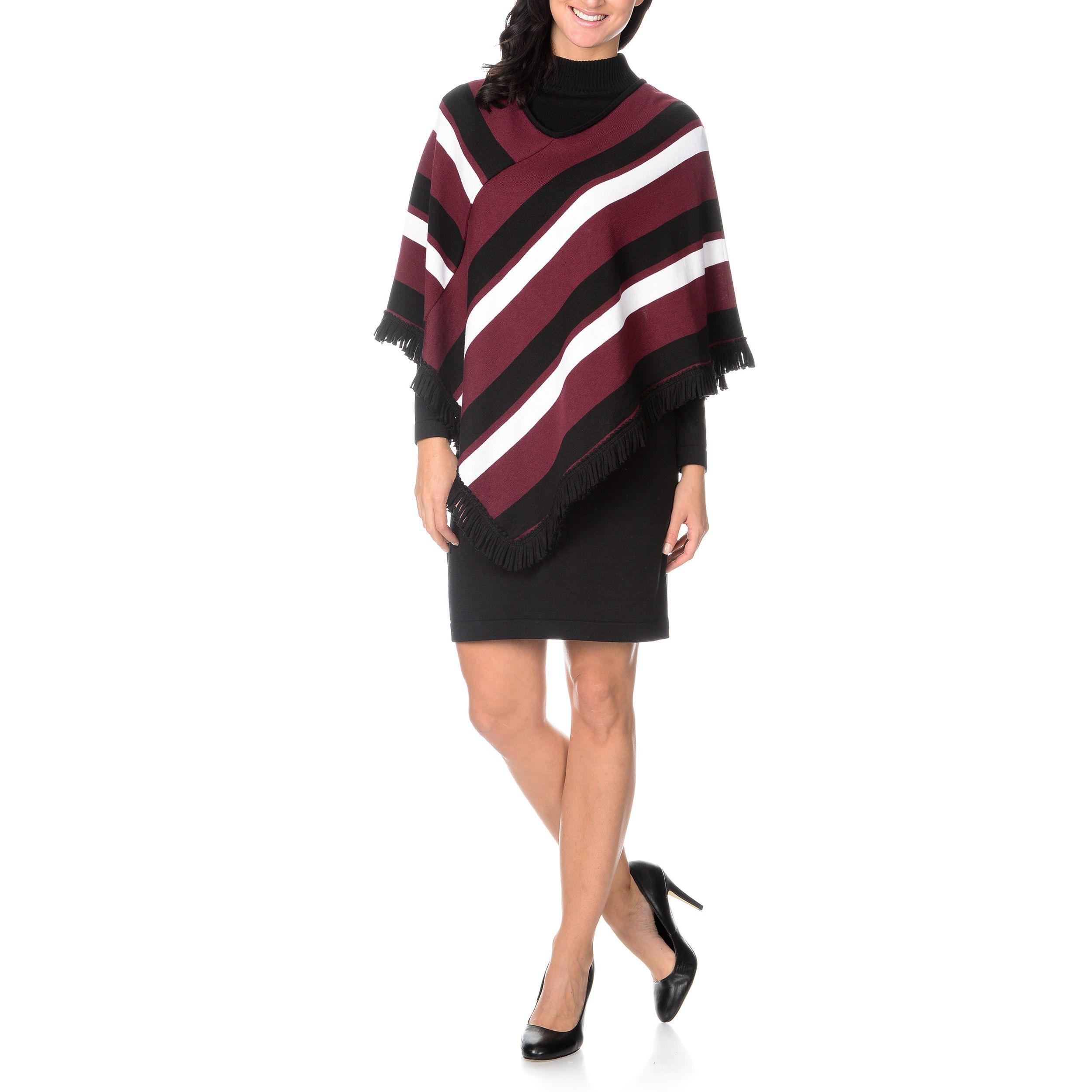 7cf6aae1cb Lennie for Nina Leonard Womens Long Sleeve Sweater Dress with Poncho ...