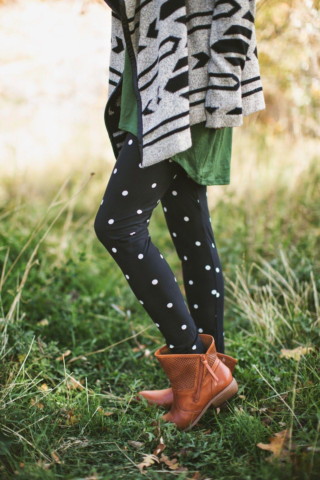 824efcf1d70ab Buttery soft, black and white, polka dot leggings. No one does leggings  quite
