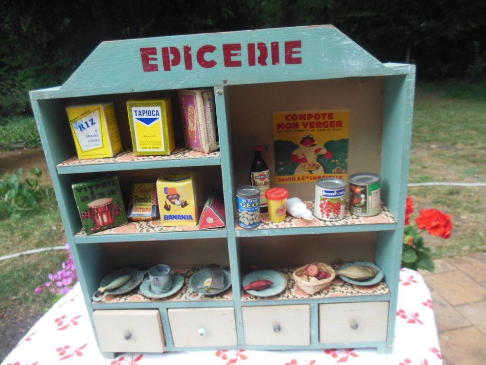 Epicerie en bois jouet ancien commerce pour poupee ou for Idee petit commerce rentable