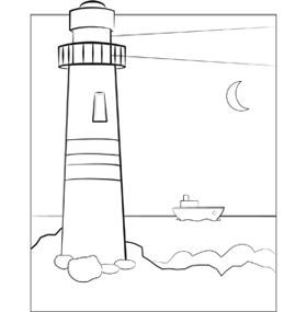 Coastal Lighthouse Coloring Pages For Adults Coloring Pages | paint ...