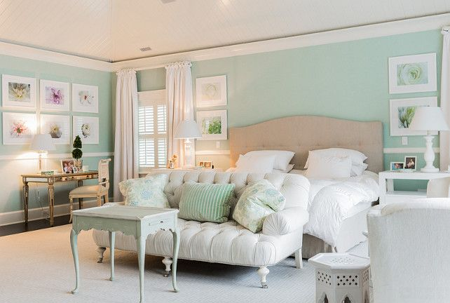 Light Aqua Mint Green Painted Coastal Bedroom With Coastal