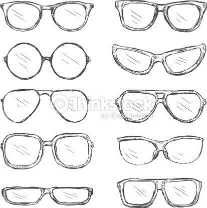 659022a94a3 Vector Art   Vector Set of Sketch Eyeglass Frames