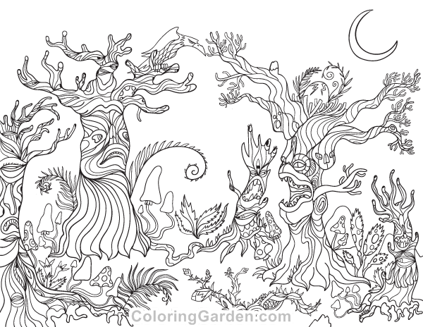 Free printable spooky forest adult coloring page download for Forest coloring pages printable