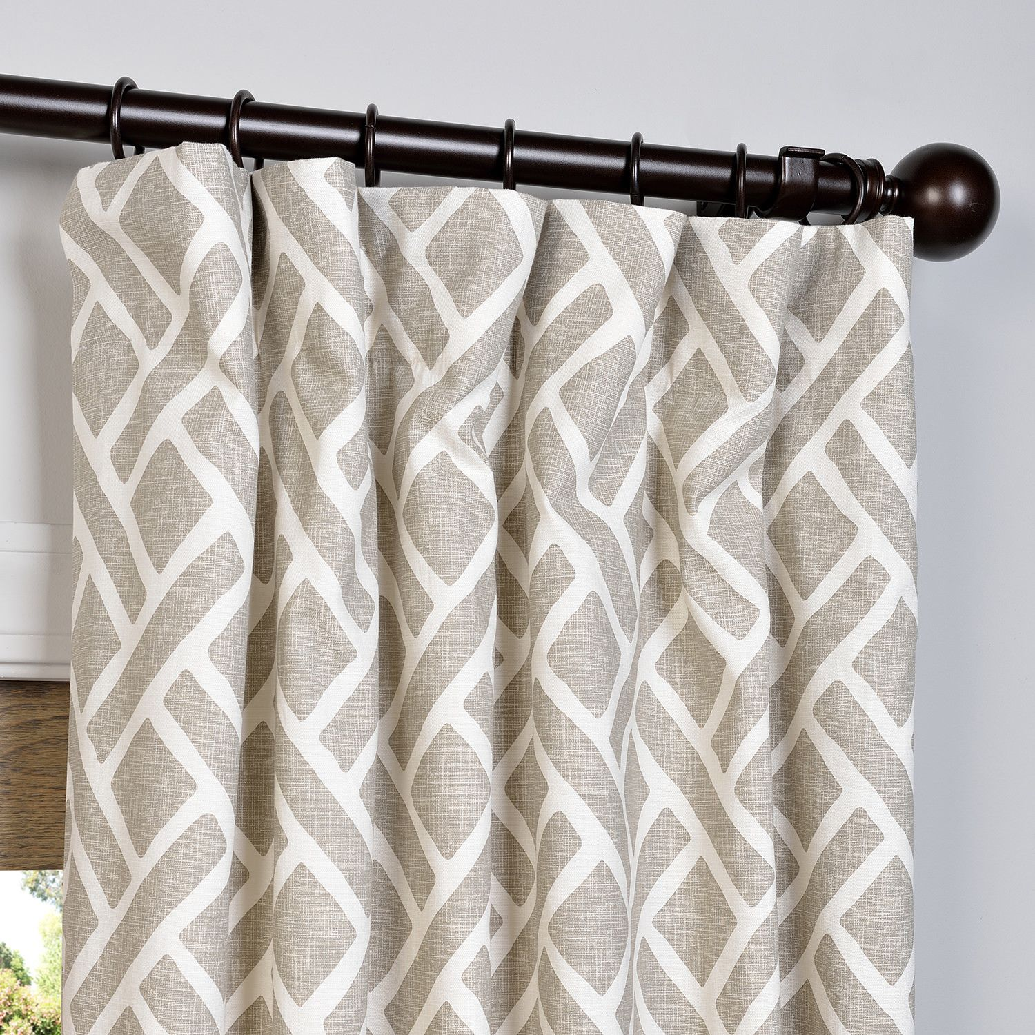 Laurel Foundry Modern Farmhouse Amandier Single Curtain Panel Printed Cotton Curtain Pattern Curtains Living Room Living Room Drapes
