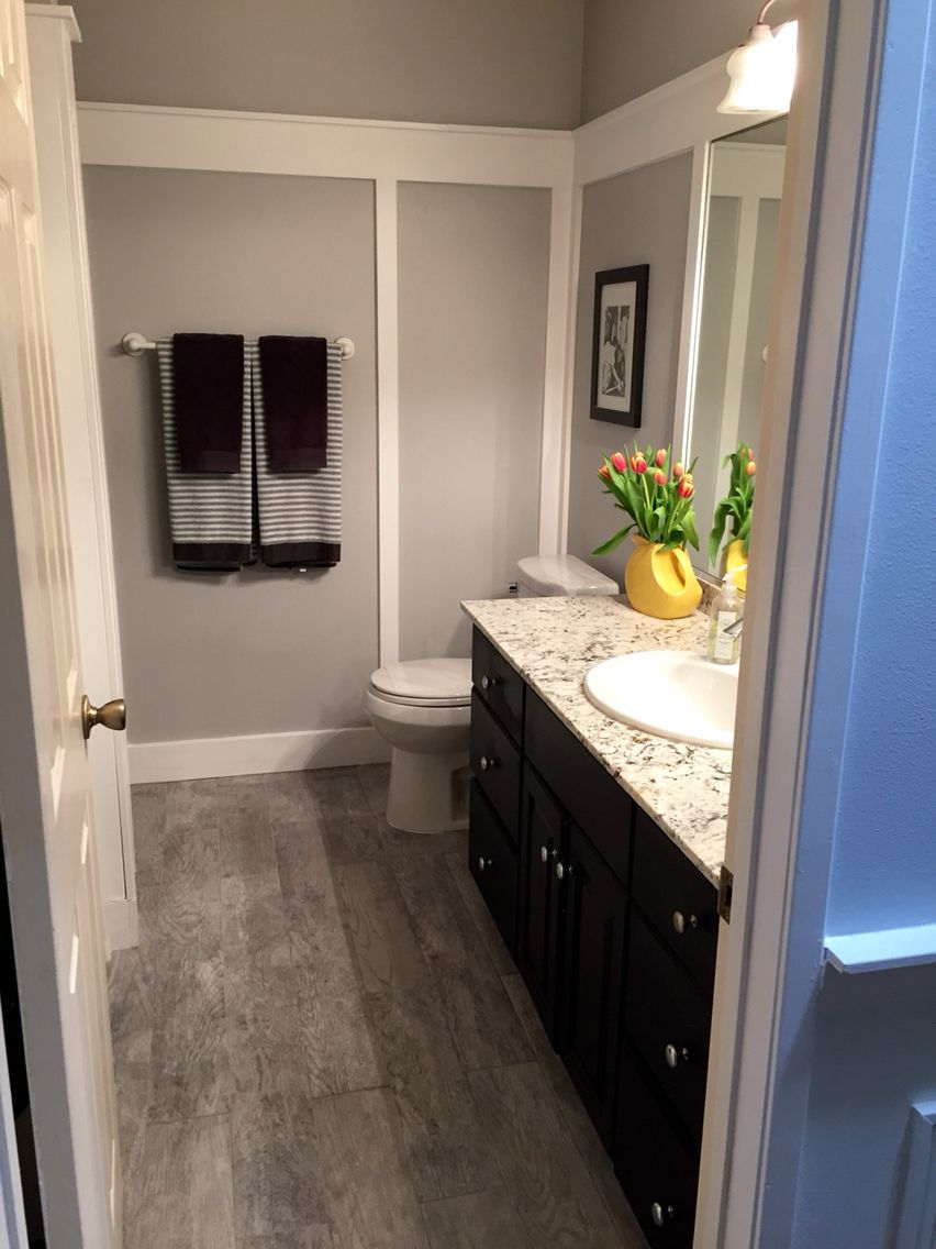 Our Bathroom Makeover Paint Color Is Behr Gentle Rain And Trim Is - Home depot bathroom makeover