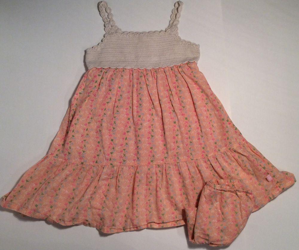 pc baby gap peach floral ecru weave knit sundress dress girls