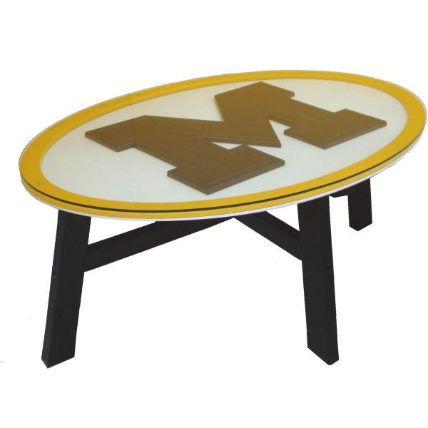Michigan Wolverines Logo Wood Amp Glass Coffee Table