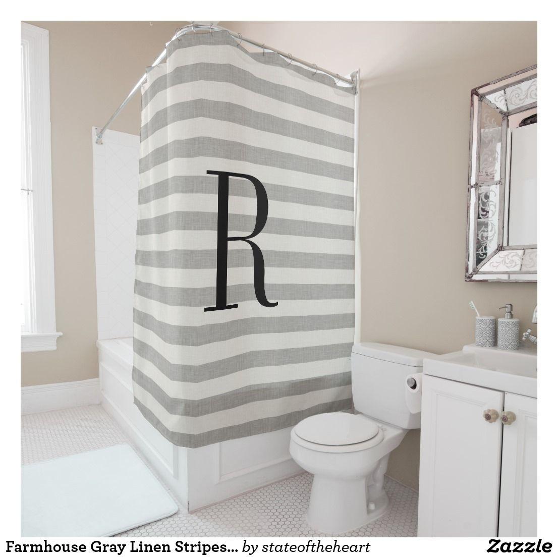 Gray Stripes Large Monogram Farmhouse Bathroom Shower